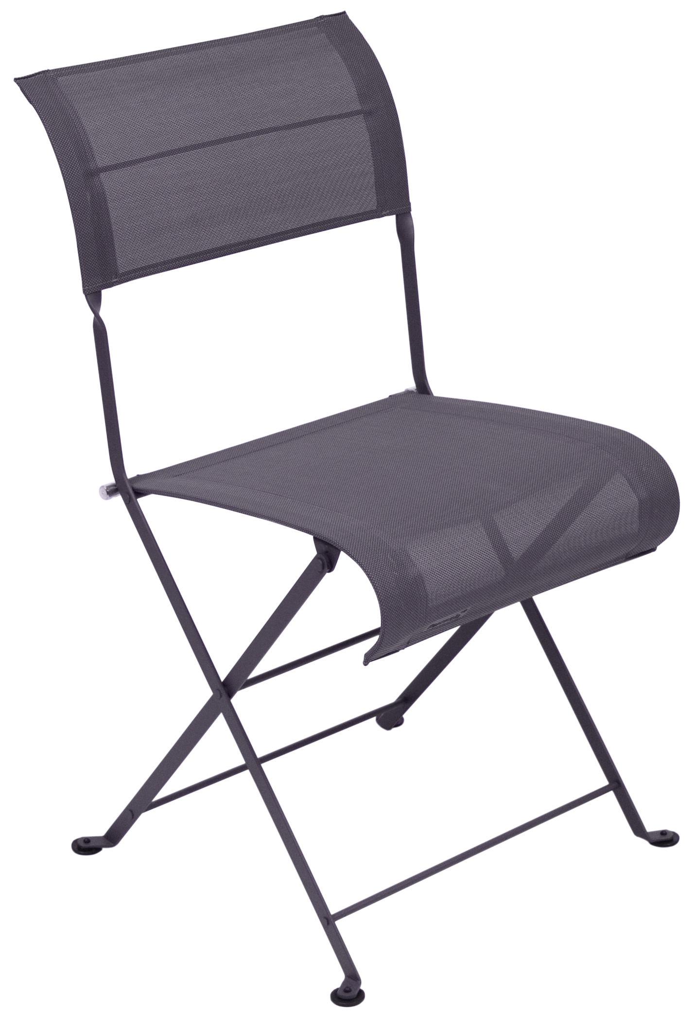 Mobilier - Chaises, fauteuils de salle à manger - Chaise pliante Dune / Toile - Fermob - Prune Chiné - Acier laqué, Toile polyester