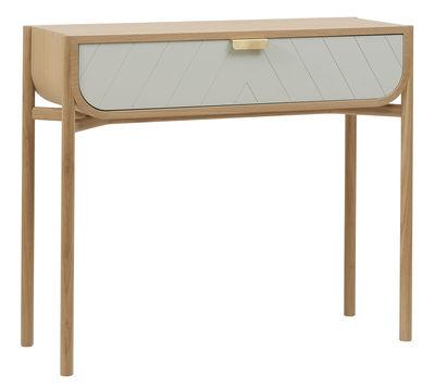 Console Marius / Avec tiroir - L 100 cm - Hartô gris clair,chêne naturel,laiton en bois