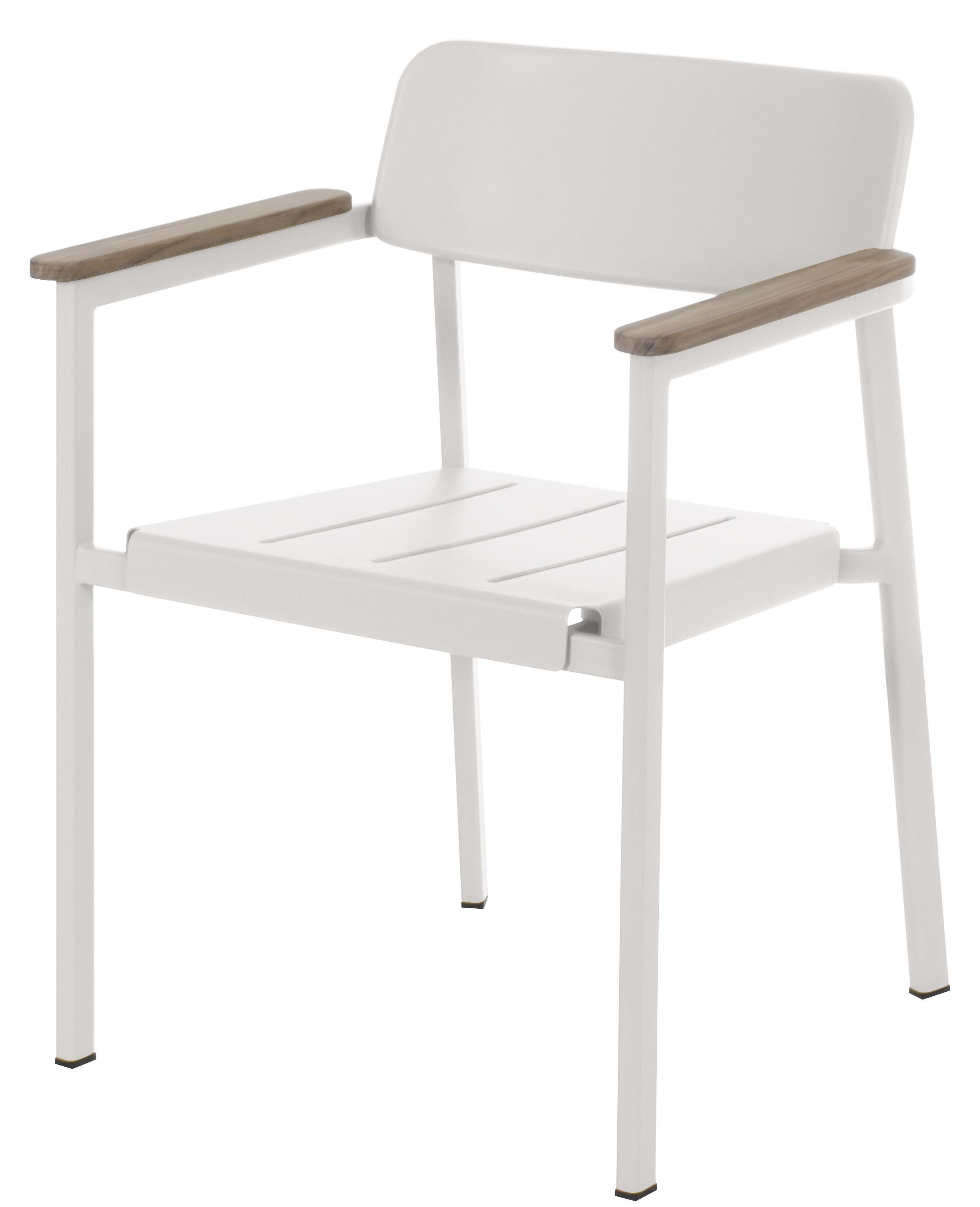 Mobilier - Chaises, fauteuils de salle à manger - Fauteuil empilable Shine / Métal & accoudoirs bois - Emu - Blanc / Accoudoirs teck - Aluminium verni, Teck
