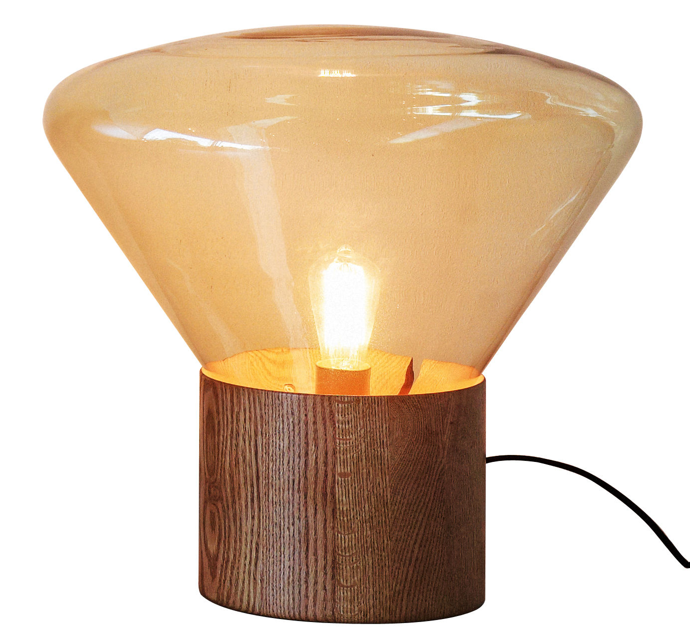Lighting - Table Lamps - Muffin Large Lamp by Brokis - Amber glass - Blown glass, Oak