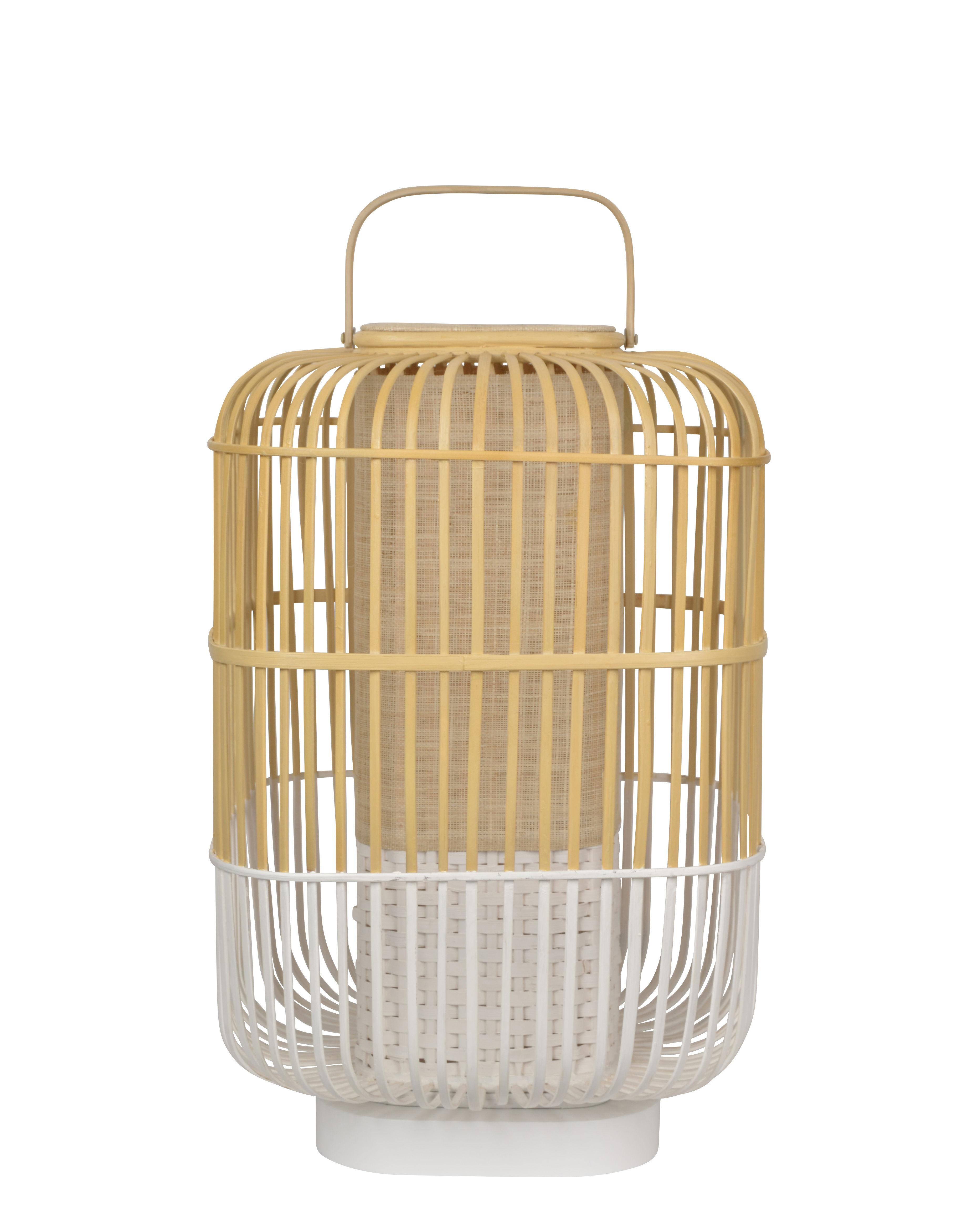 Illuminazione - Lampade da tavolo - Lampada da tavolo Bamboo Square - / Large - H 65 cm di Forestier - Bianco - Bambù, Legno tinto