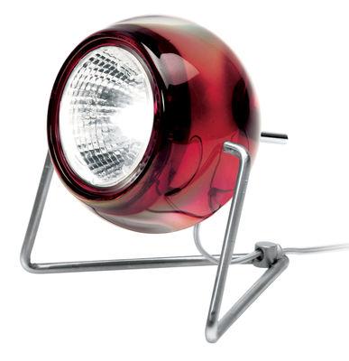 Illuminazione - Lampade da tavolo - Lampada da tavolo Beluga - Versione vetro di Fabbian - Rosso trasparente - Metallo cromato, Vetro