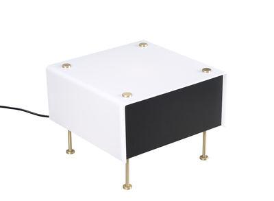 Illuminazione - Lampade da tavolo - Lampada da tavolo G60 Small - / Riedizione 1959, Pierre Guariche - 27 x 27 cm di SAMMODE STUDIO - Small / Blanc & noir - Lamiera d'acciaio, Ottone, PMMA