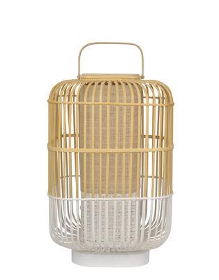 Luminaire - Lampes de table - Lampe de table Bamboo Square / Large - H 65 cm - Forestier - Blanc - Bambou, Bois peint