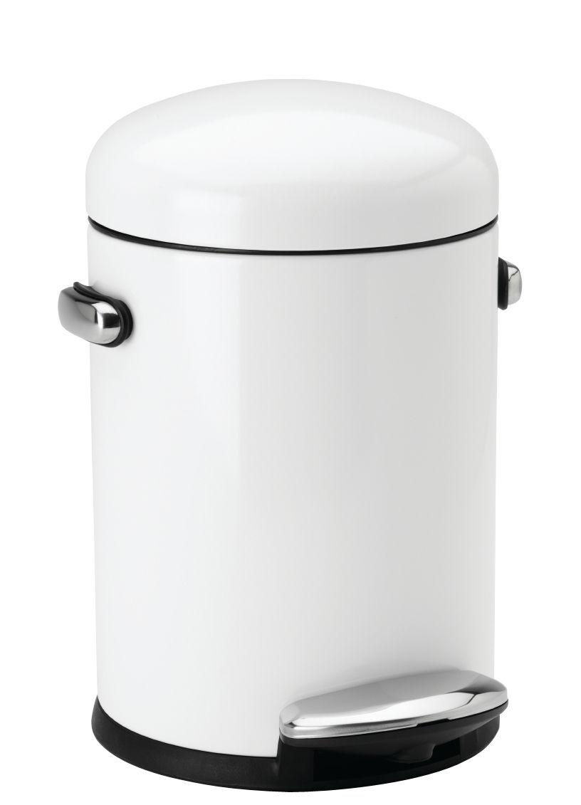 Accessori moda - Accessori bagno - Pattumiera a pedale Retro - / 4,5 L di Simple Human - Bianco - Acciaio