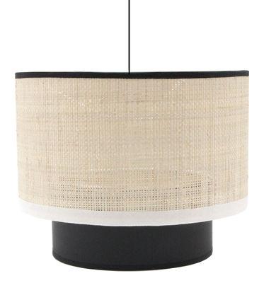 Lighting - Pendant Lighting - Eclipse Pendant - / Raffia - Ø 25 cm by Maison Sarah Lavoine - Raffia / White and black bias - Cotton, Metal, Raffia