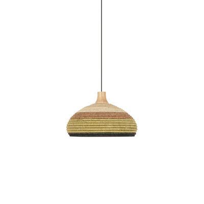 Lighting - Pendant Lighting - Grass S Pendant - / Ø 37 x H 24 cm - Hand-braided abaca by Forestier - Green - Abaca, Oak