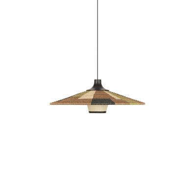 Lighting - Pendant Lighting - Parrot M Pendant - / Ø 60 x H 21 cm - Hand-braided abaca by Forestier - Brown - Abaca, Oak