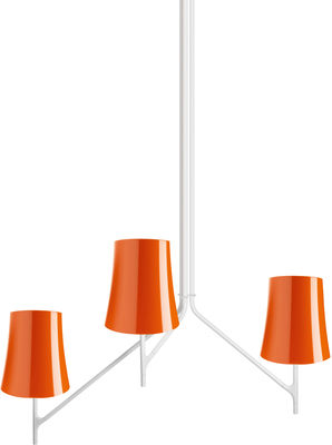 Leuchten - Pendelleuchten - Birdie Pendelleuchte 3 Arme - feste Höhe - Foscarini - 3 Arme - Orange - klarlackbeschichteter rostfreier Stahl, Polykarbonat