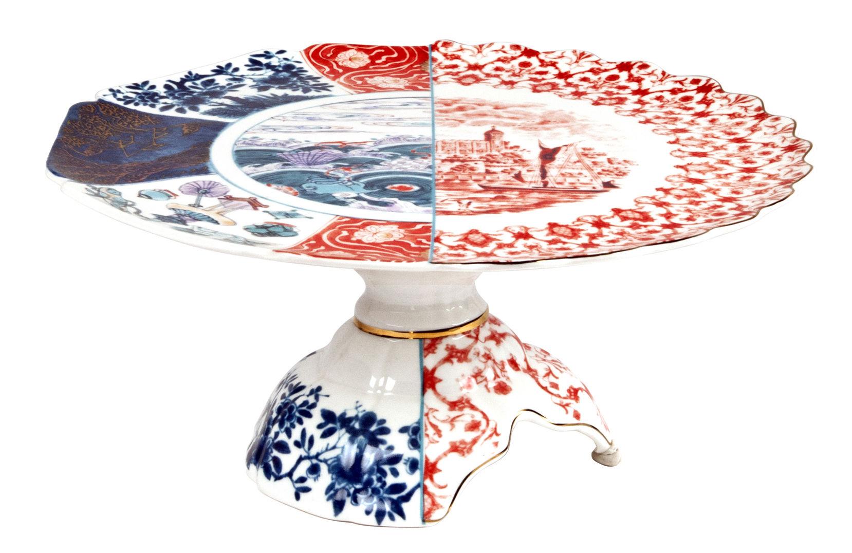 Arts de la table - Plats - Plateau à gâteau Hybrid Moriana / Ø 32,5 cm - Seletti - Ø 32,5 cm / Multicolore - Porcelaine Bone China