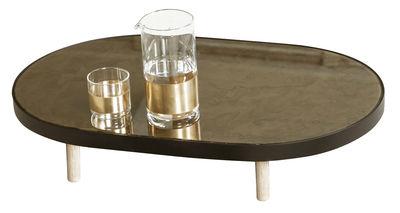 Arts de la table - Plateaux - Plateau Reflect / Miroir Ovale - 67 x 41 cm - Serax - Noir & miroir / Pieds bois naturel - Bois naturel, Métal peint, Verre