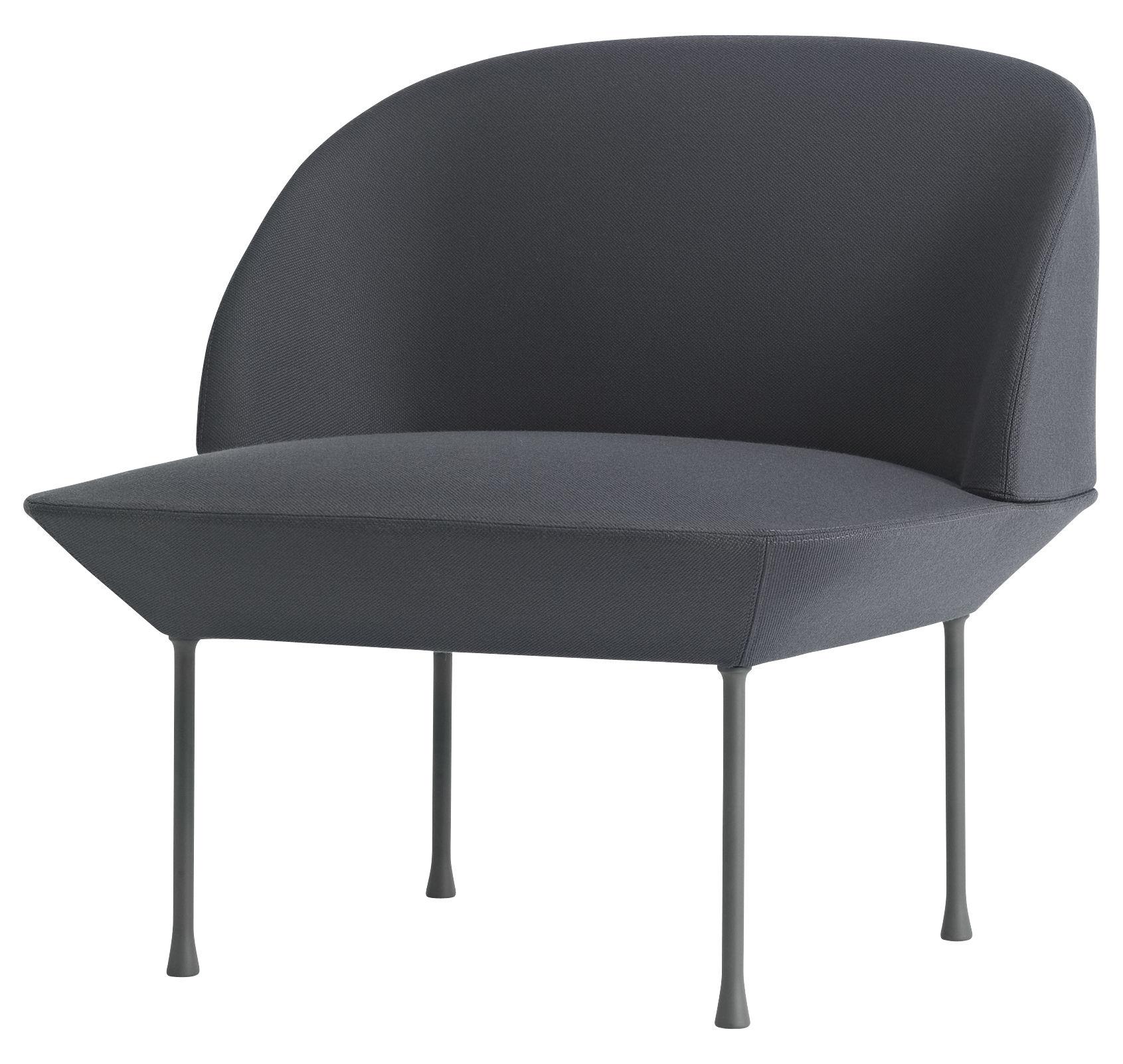 Arredamento - Poltrone design  - Poltrona imbottita Oslo di Muuto - Grigio scuro - Alluminio, Espanso, Tessuto Kvadrat