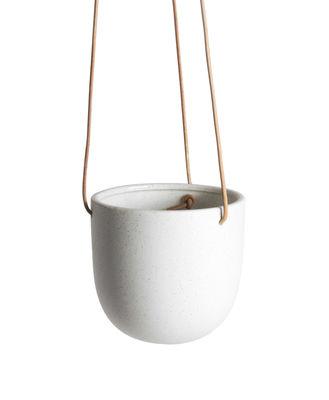 Déco - Pots et plantes - Pot suspendu Socoa / Grès - Ø 14 x H 14 cm - ENOstudio - Blanc / Cuir naturel - Cuir, Grès