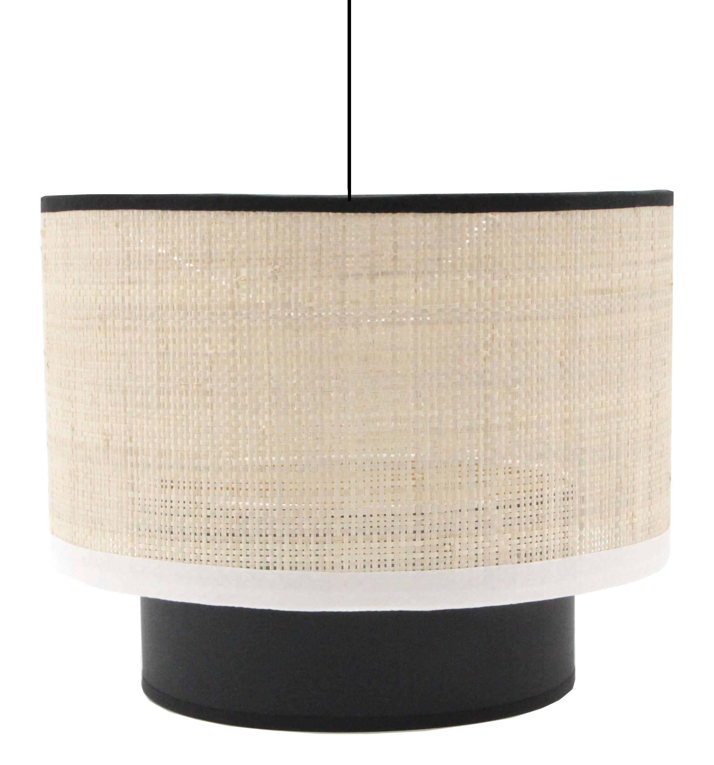 Illuminazione - Lampadari - Sospensione Eclipse / tessuto in fibre di rafia - Ø 25 cm - Maison Sarah Lavoine - Tessuto in fibre di rafia / Bordino bianco e nero - Cotone, Metallo, Rabane