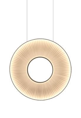 Illuminazione - Lampadari - Sospensione Iris Verticale LED / Ø 60 cm - Tessuto & illuminazione recto-verso - Dix Heures Dix - Ø 60 cm / Tessuto Bianco - Metallo, Tessuto