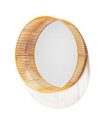 Interni - Specchi - Specchio Cesta - Rotondo / Ø 49 cm di ames - Miele - Acciaio laccato, Fili in PVC riciclato, Vetro