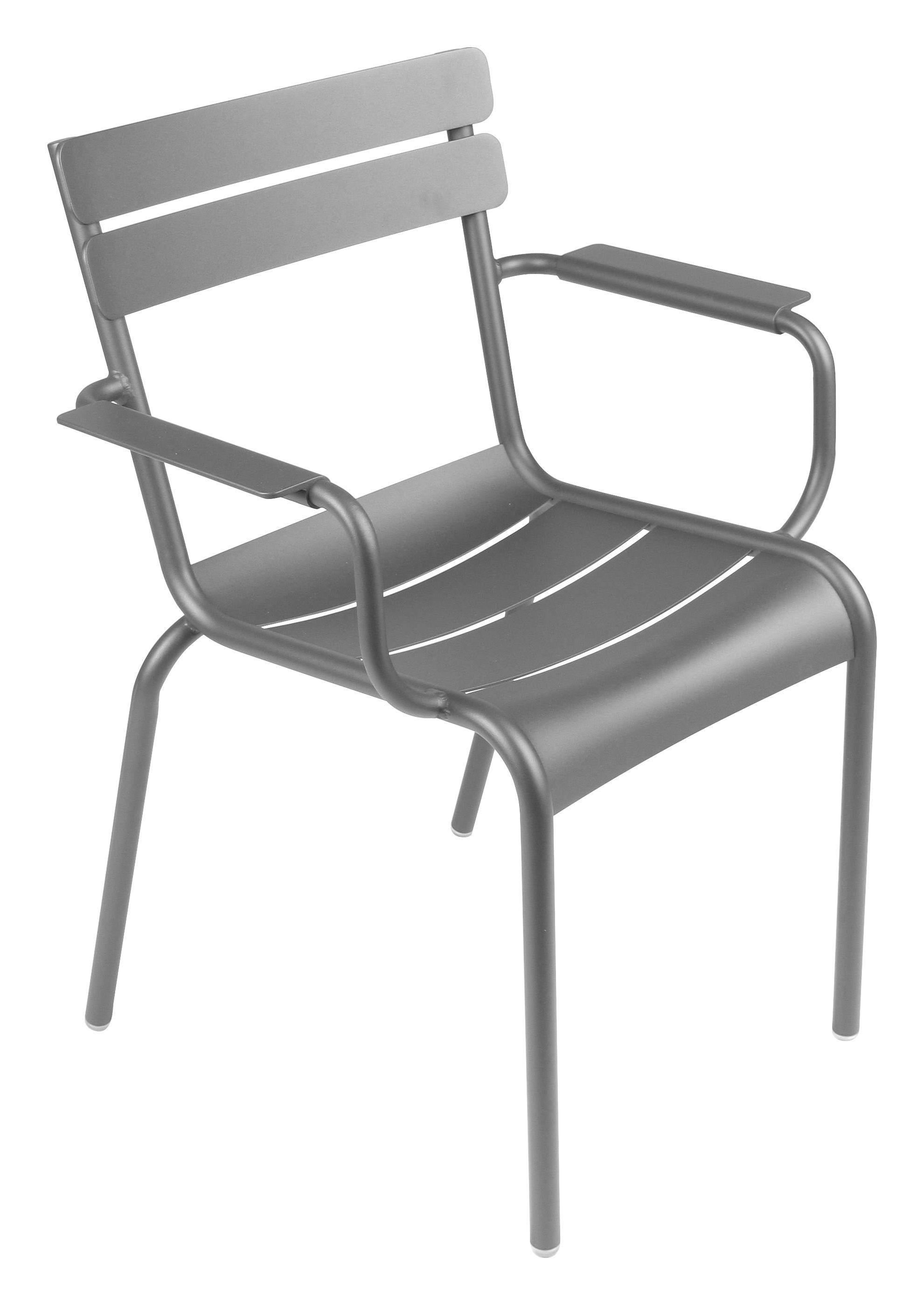 Life Style - Luxembourg Stackable armchair by Fermob - Steel grey - Lacquered aluminium