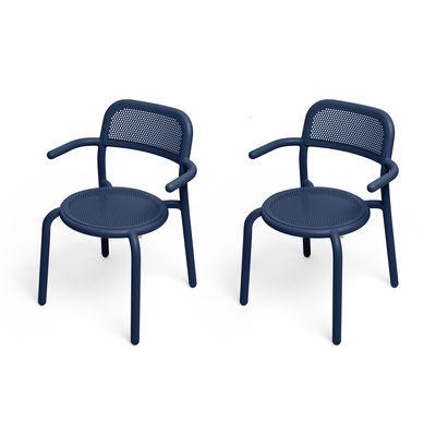 Furniture - Chairs - Toní Stackable armchair - / Set of 2 - Perforated aluminium by Fatboy - Dark ocean - Powder-coated aluminium