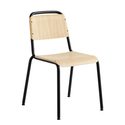 Furniture - Chairs - Halftime Stacking chair - / Wood & metal by Hay - Natural oak / Black structure - Lacquered steel, Plywood with oak veneer