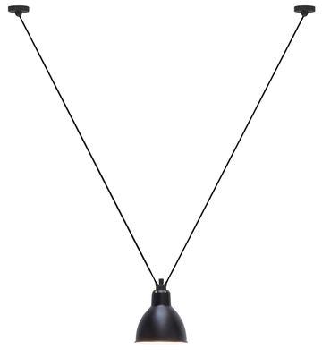Luminaire - Suspensions - Suspension Acrobate N° 323 / Lampe Gras - 1 abat-jour rond métal - DCW éditions - Noir / Intérieur blanc - Acier peint