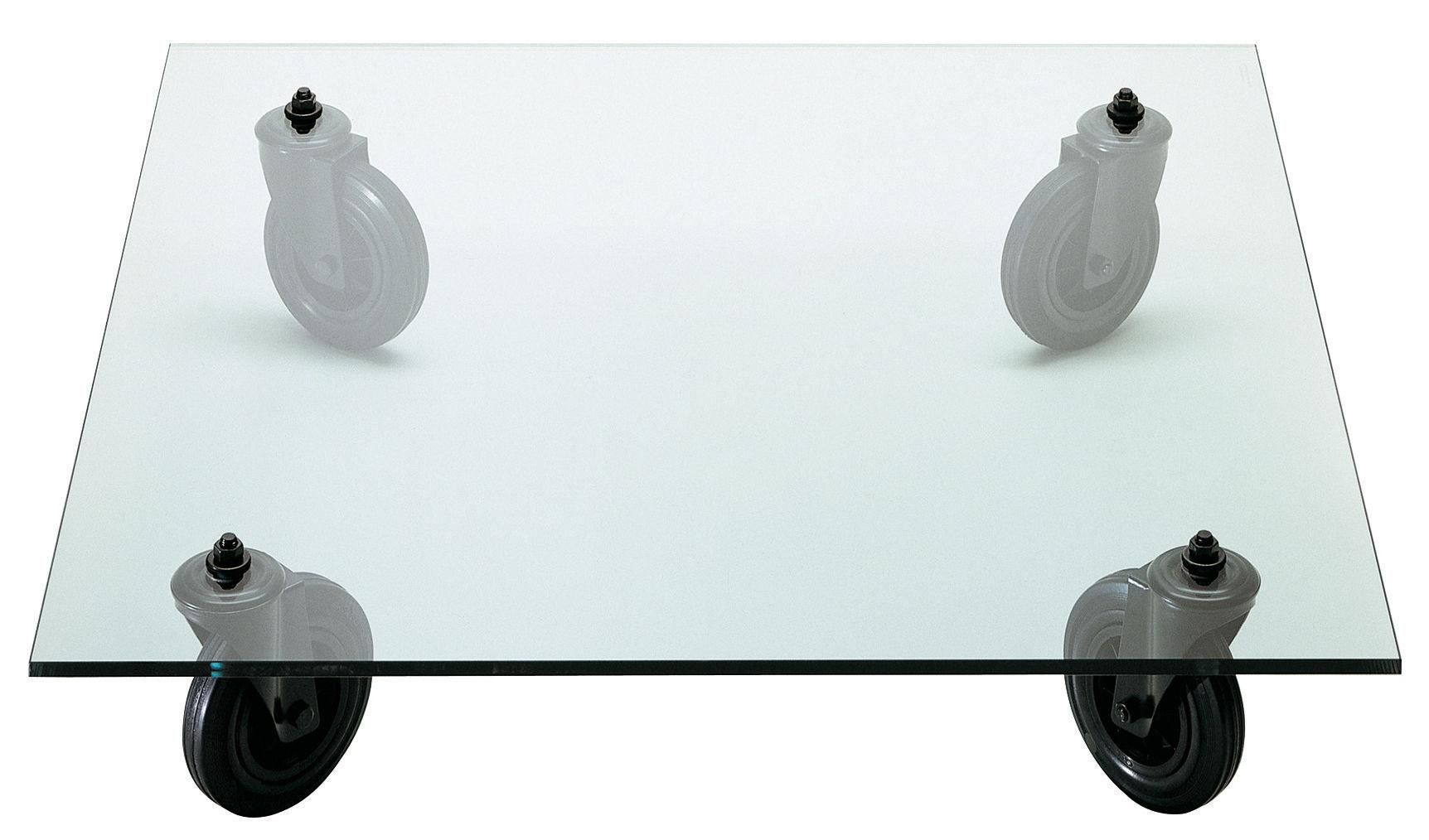 Mobilier - Tables basses - Table basse Gae Aulenti - Fontana Arte - 110 x 110 cm - Caoutchouc, Métal verni, Verre