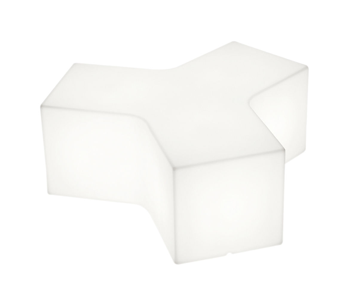 Mobilier - Tables basses - Table basse lumineuse Ypsilon Outdoor / Pouf - L 120 cm - Plastique - Slide - Blanc - Extérieur - polyéthène recyclable