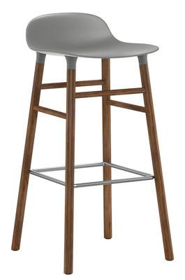 Tabouret de bar Form / H 75 cm - Pied noyer - Normann Copenhagen gris,noyer en matière plastique