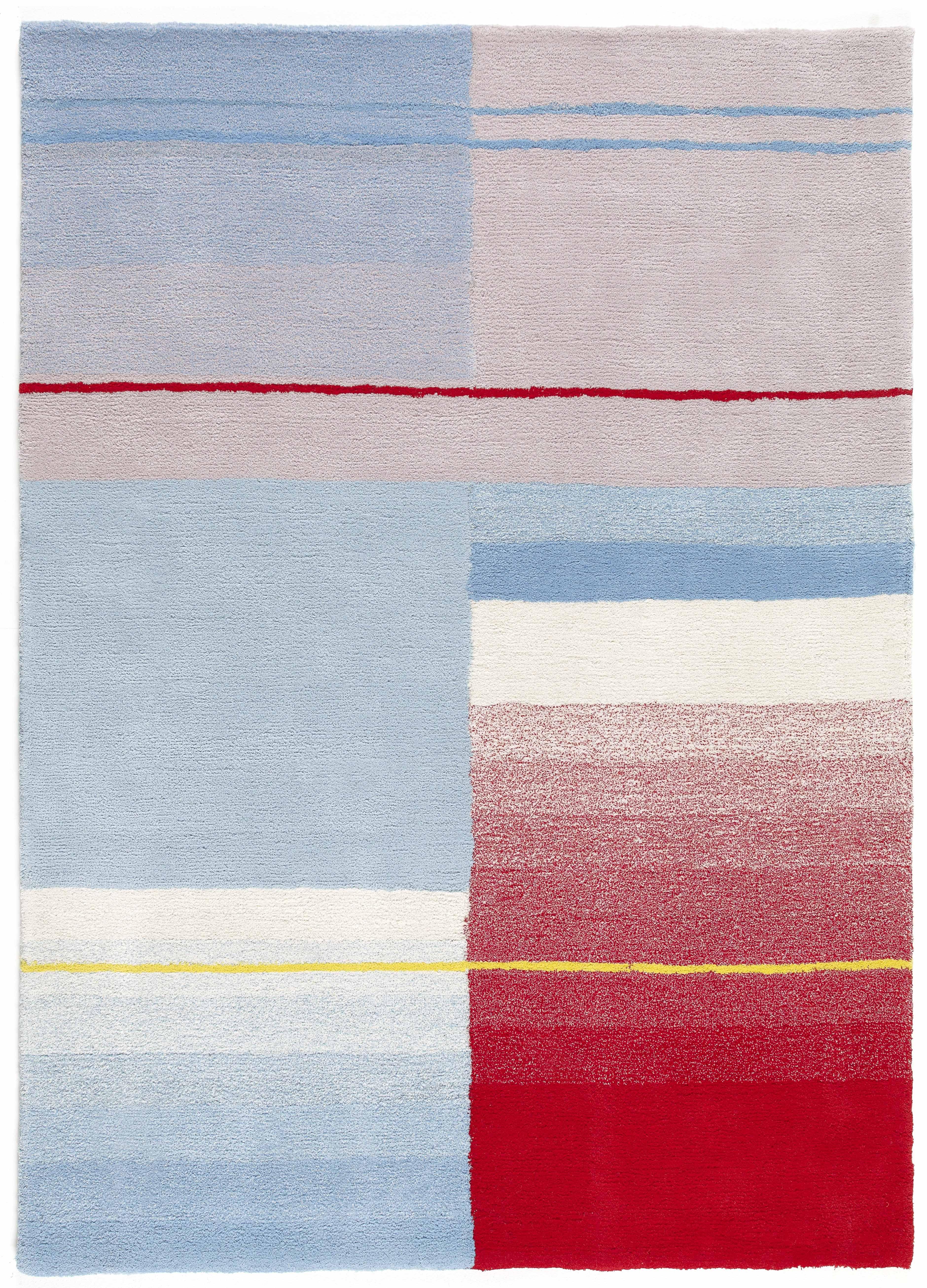 Déco - Tapis - Tapis Colour / 170 x 240 cm - Hay - Bleu ciel, Rouge & Crème - Coton, Laine