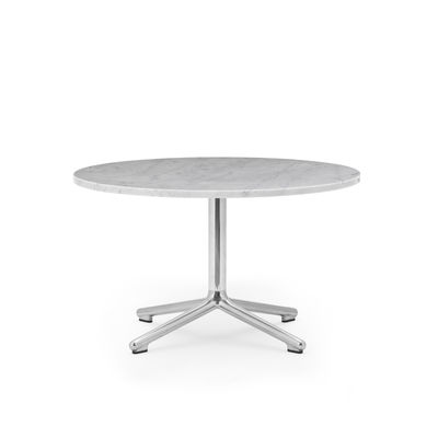 Arredamento - Tavolini  - Tavolino Lunar - / Ø 70 x H 40 cm - Marmo bianco di Normann Copenhagen - Marmo bianco / Alluminio lucidato - Alluminio fuso lucidato, Marmo