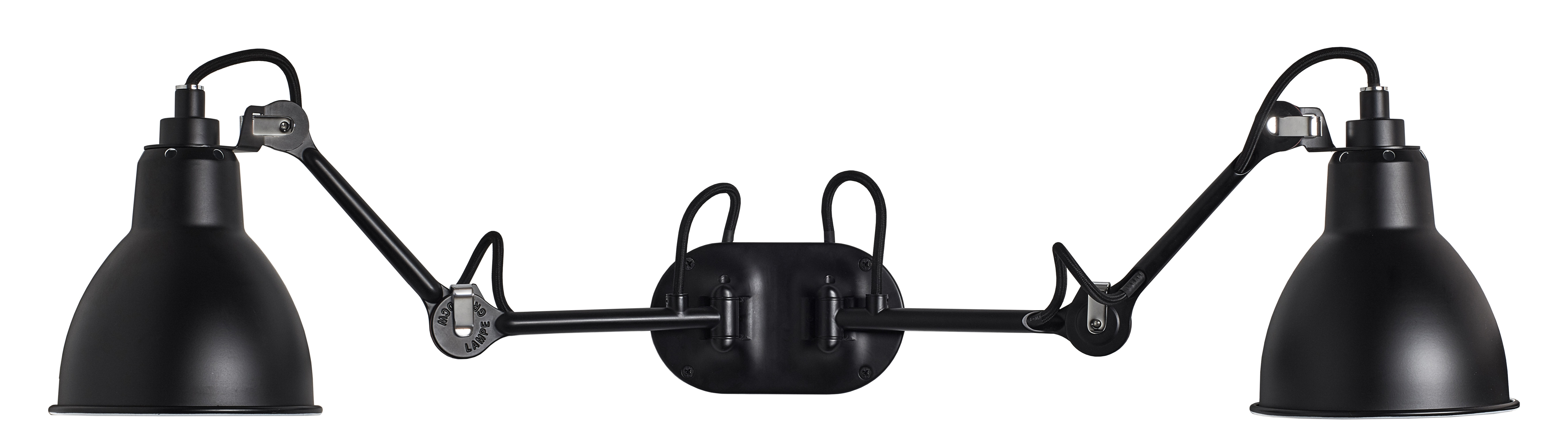 Lighting - Wall Lights - N° 204  Double Wall light - Lampe Gras by DCW éditions - Black satin - Aluminium, Steel