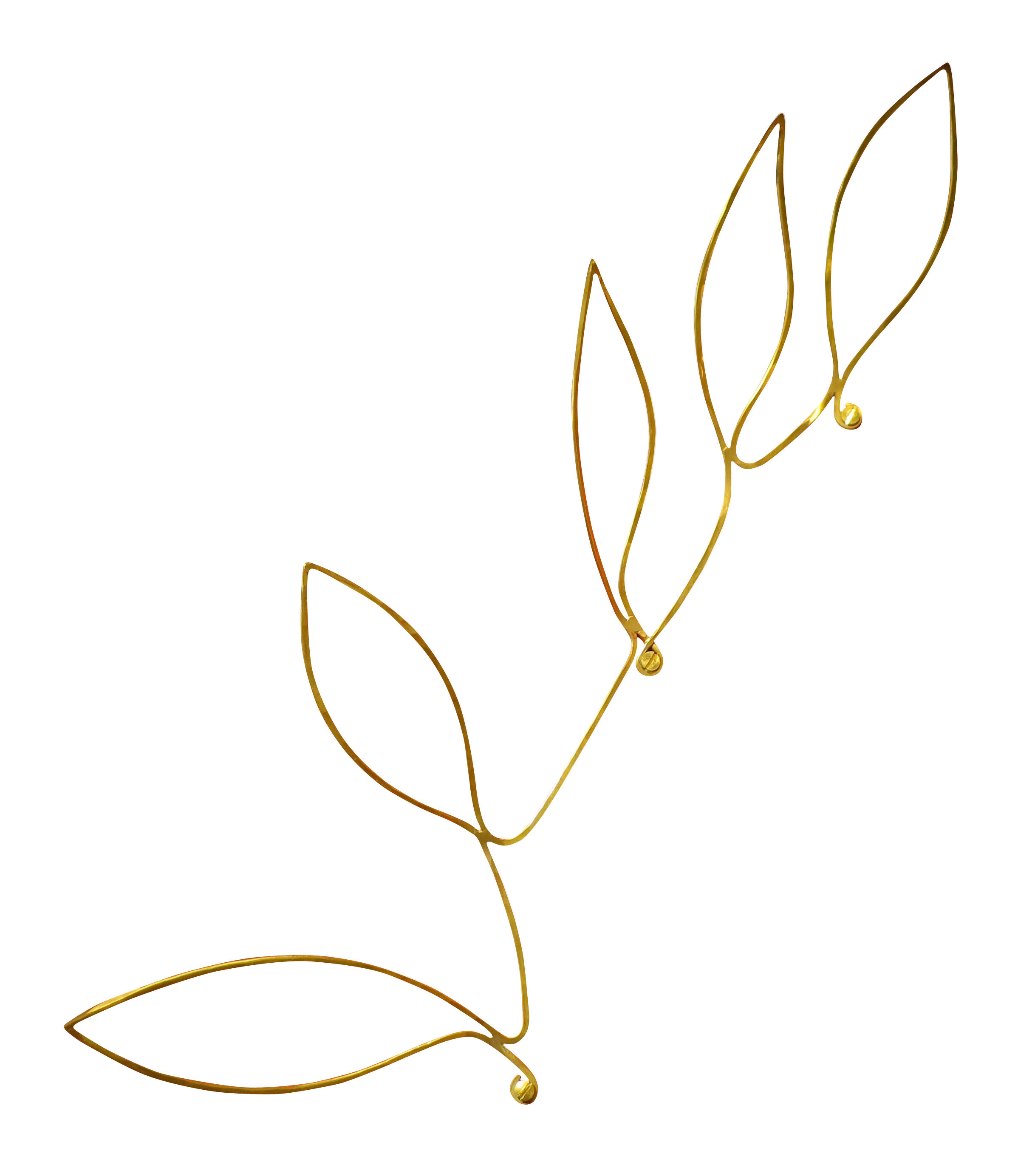 Dekoration - Körbe und Ablagen - Silhouettes - Wandhalterung für Objekte Blätter / messingfarben - Sentou Edition - Blätter / messingfarben - Messing