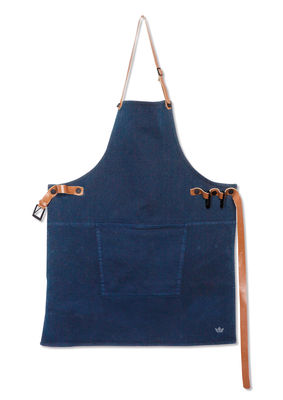Kitchenware - Tea Towels & Aprons - Apron - Barbecue / Denim by Dutchdeluxes - Dark blue - Cotton, Leather