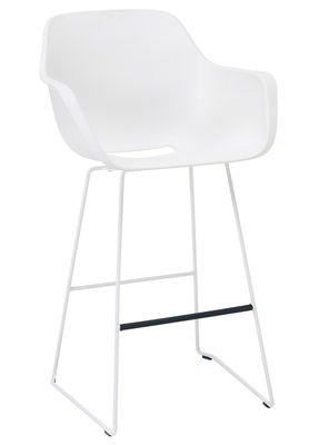 Furniture - Bar Stools - Captain's Bar chair - H 74 - Plastic & metal leg by Extremis - White - Lacquered steel, Polypropylene