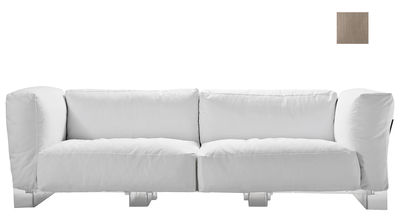 Canapé droit Pop Duo / structure transparente - L 255 cm - Kartell gris tourterelle en tissu