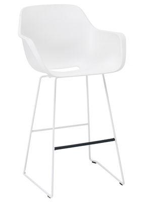 Chaise de bar Captain's / H 74 - Plastique & pied métal - Extremis blanc en métal