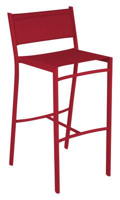 Chaise de bar Costa / H 76 cm - Toile - Fermob piment en tissu
