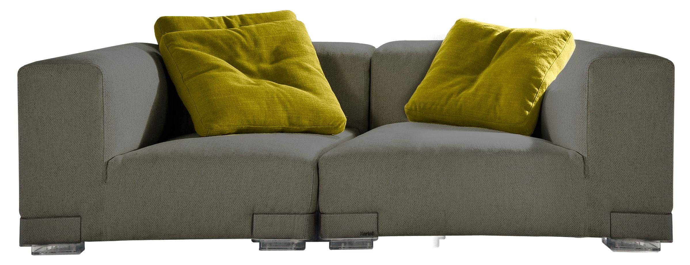 Arredamento - Divani moderni - Divano destro Plastics Duo - Composizione 2 di Kartell - Grigio - policarbonato, Tessuto
