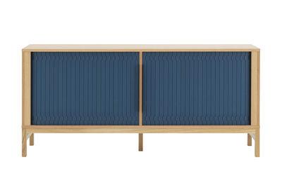 Furniture - Dressers & Storage Units - Jalousi Dresser - / L 161 cm - Wood & plastic curtains by Normann Copenhagen - Dark blue / Wood - MDF veneer oak, Plastic, Solid oak