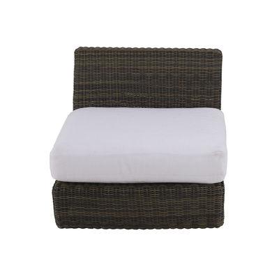 Outdoor - Sofas - Agorà Easy chair - / Central back module - L 70 cm by Unopiu - Tropical brown / Ecru white cushion - Acrylic fabric, Aluminium, Foam, Waprolace synthetic fibre