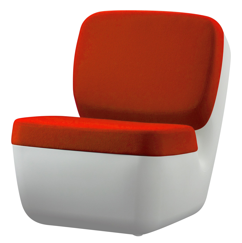 Mobilier - Mobilier Ados - Fauteuil bas Nimrod / Rembourré - Magis - Blanc / Orange - Laine, Polyéthylène