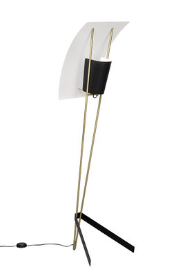 Lighting - Floor lamps - G30 Floor lamp - / 1958 reissue, Pierre Guariche by SAMMODE STUDIO - Black & white / Brass - Brushed brass, Lacquered steel
