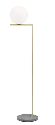 Lighting - Floor lamps - IC F2 Outdoor Floor lamp - / H 185 cm - Stone base by Flos - Brass / grey lava base - Glass, Lava stone, Stainless steel