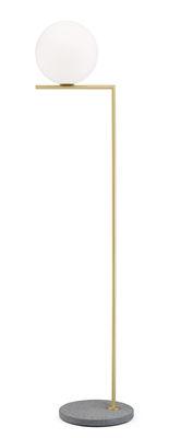Illuminazione - Lampade da terra - Lampada a stelo IC F2 Outdoor - / H 185 cm - Base pietra di Flos - Ottone / Base lava grigia - Acciaio inossidabile, Pietra lavica, Vetro