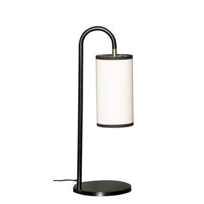 Luminaire - Lampes de table - Lampe de table Tokyo / Coton - H 43 cm - Maison Sarah Lavoine - Coton blanc / Noir - Acier thermolaqué, Coton
