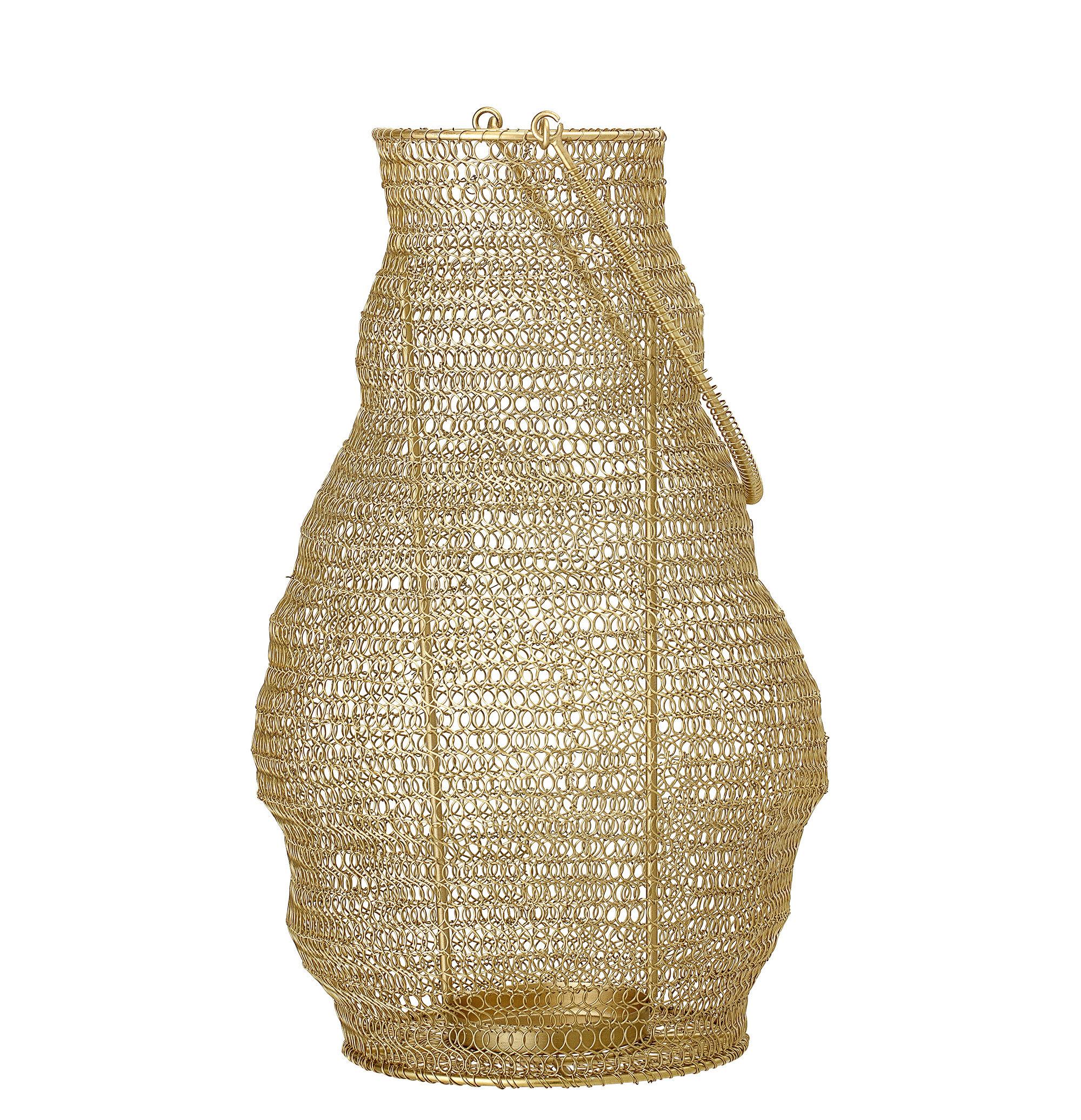 Decoration - Candles & Candle Holders - Lantern - / Metal mesh - H 38 cm by Bloomingville - Gold - Résille de métal - Structure interne et poignée : métal
