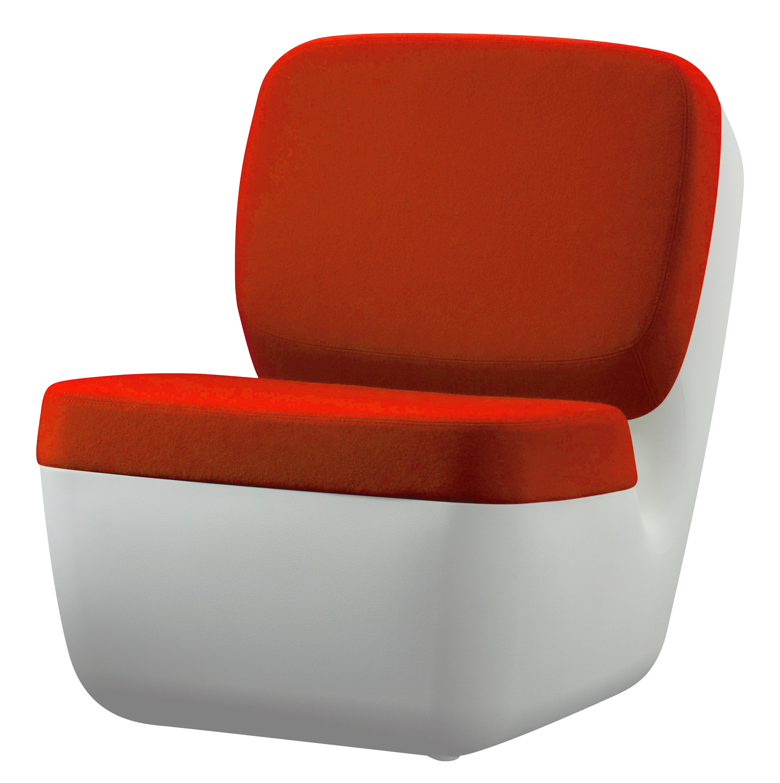 Furniture - Teen furniture - Nimrod Low armchair by Magis - White / Orange - Polythene, Wool