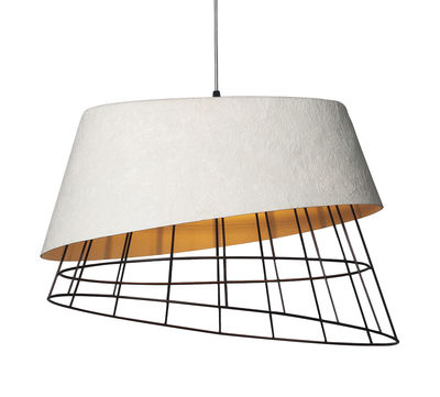Lighting - Pendant Lighting - Mono Pendant - L 51 x H 38 cm by Karman - White & Rust - Fibreglass, Metal
