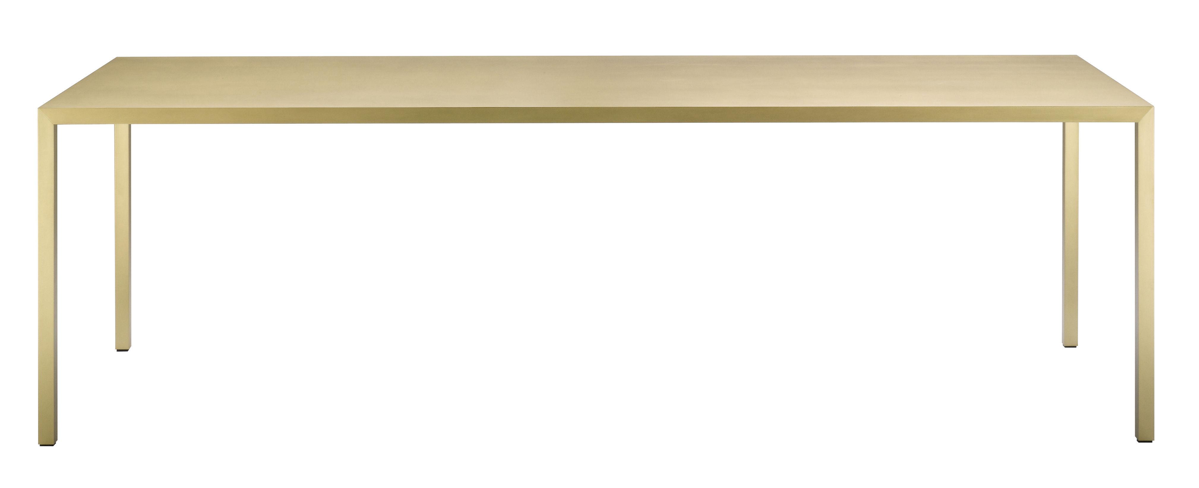 Möbel - Tische - Tense Material rechteckiger Tisch / 90 x 200 cm - Messing - MDF Italia - Messing, gebürstet - Messing-Furnier, gebürstet, Verbundplatte