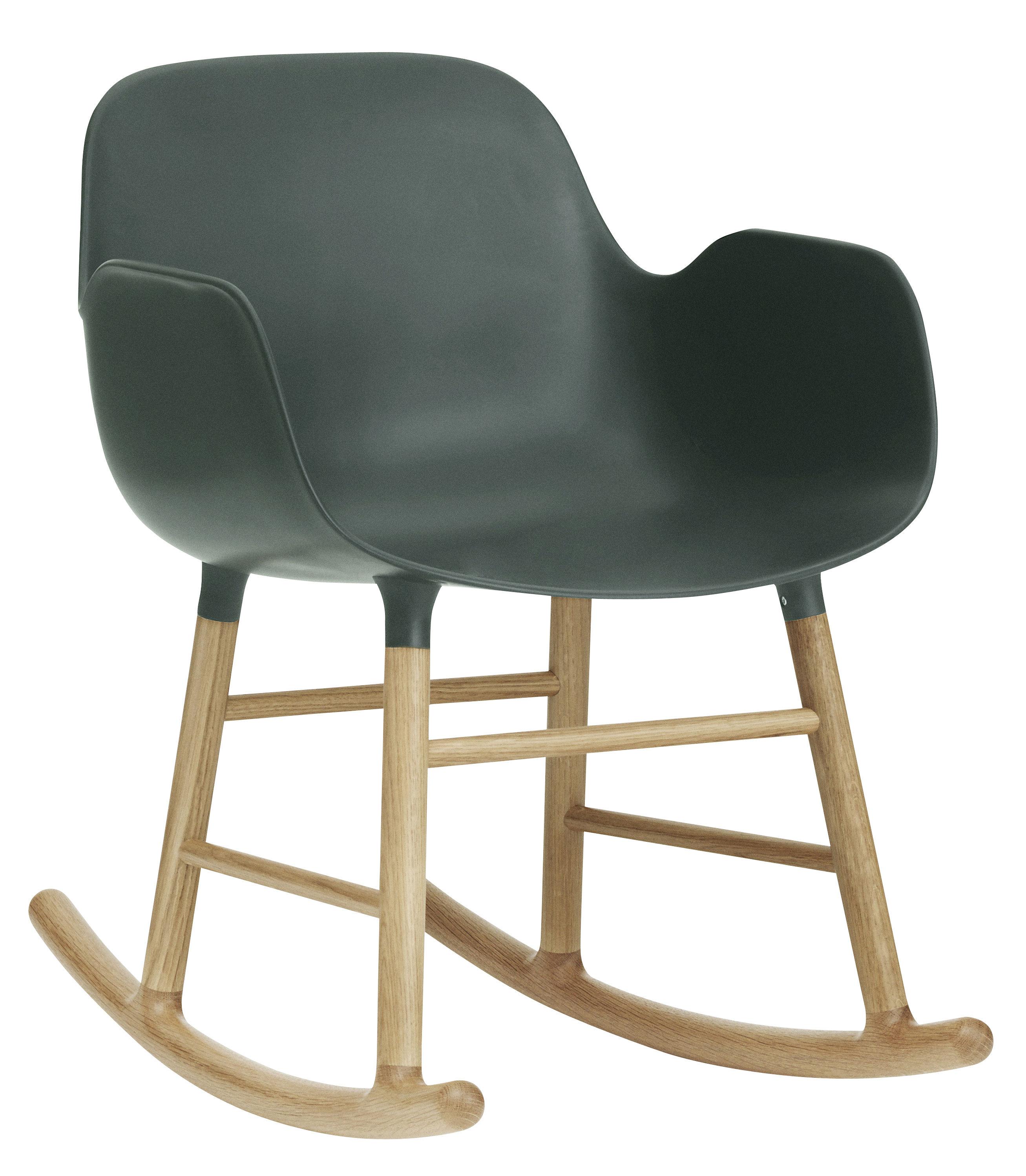 Mobilier - Fauteuils - Rocking chair Form - Normann Copenhagen - Vert foncé - Chêne, Plastique