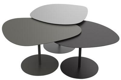 Möbel - Couchtische - Galet INDOOR Satz-Tische / Set aus 3 Satz-Tischen - Matière Grise - Aluminium-grau, taupe und schwarz - Stahl